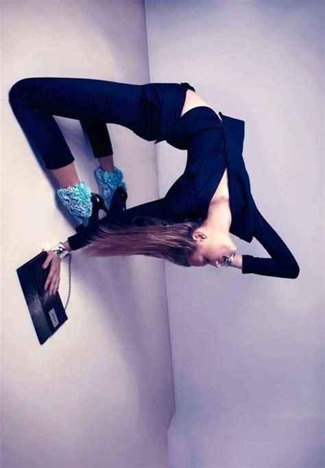 Blue Contortionist Fashion Gravity Defying Pictorials