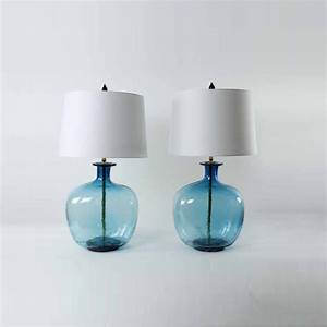 Add elegance to your room with aqua glass lamps warisan for Glass jar floor lamp
