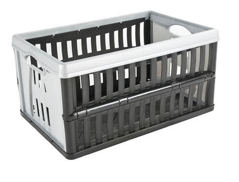 collapsible crate tontarelli black grey 60l plastic folding crate