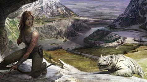 full hd wallpaper lara croft archery snow tiger valley