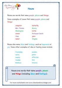 Grammar Worksheet Nouns Grade 1
