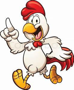 Cartoon chicken walking. Vector clip art illustration with ...