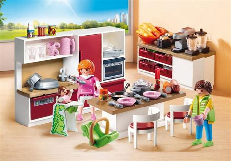playmobil cuisine playmobil set 9269 large family kitchen klickypedia