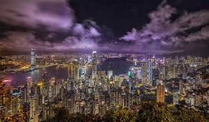 Wallpaper Building China City Hong Kong Night River