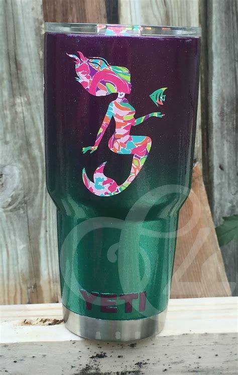 custom painted mermaid yeti mermaid mugs decals  yeti cups