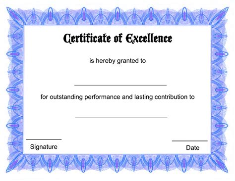 Certificate Of Excellence Template Editable by Blank Certificate Templates Kiddo Shelter