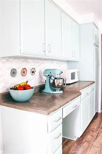 diy marble contact paper backsplash a joyful riot With kitchen colors with white cabinets with tissue paper wall art