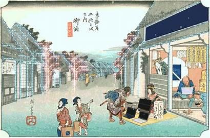 Japanese Gifs Traditional Animated Ukiyo Technology Painting
