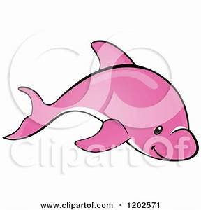 Cartoon of a Cute Pink Dolphin Swimming - Royalty Free ...