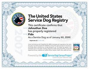 Service dog certificate for Service dog certificate template