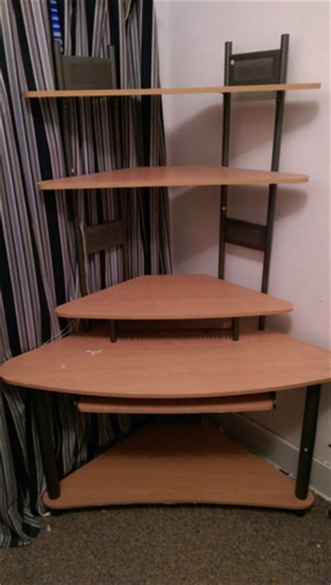 tall corner computer desk corner computer writing desk w tall standing shelves