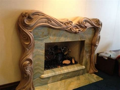 art nouveau woodcarving wood carved mantle master carver