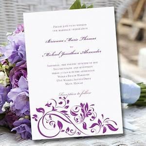 purple wedding invitation template quotflourishquot printable With wedding invitation format doc
