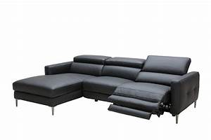 Divani casa booth modern black leather sectional w for Sectional sofa w recliners