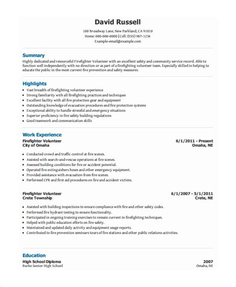 Volunteer On Resume Exle by Volunteer Resume Template 7 Free Word Pdf Document