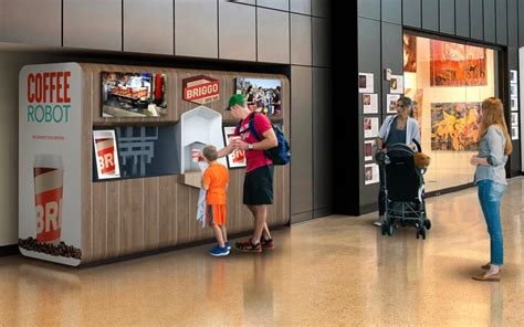 Briggo's coffee robot is already in eight locations around texas including the austin airport near gate 17. Briggo to Open Second Robotic Coffee Haus at AUS - Airport Experience® News (AXN)