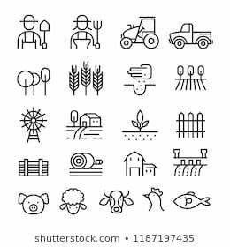 Farm, Agriculture, Line, Icons, Set, Farmers, Stock, Vector