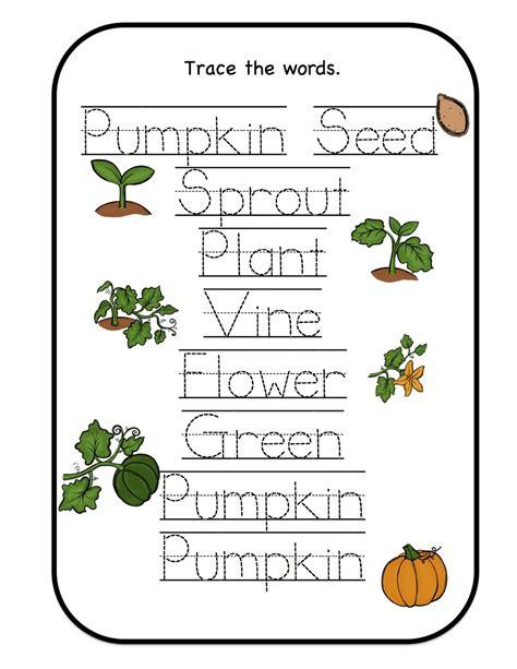 february 2013 preschool printables 759 | Pumpkin trace the words