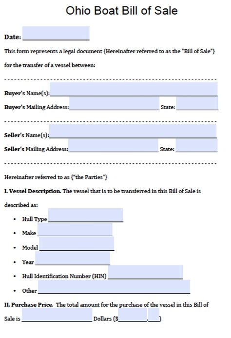 Florida Boat Bill Of Sale Itemized by Bill Of Sale Form