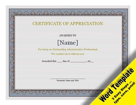 certificate of appreciation template word certificate of appreciation editable word template