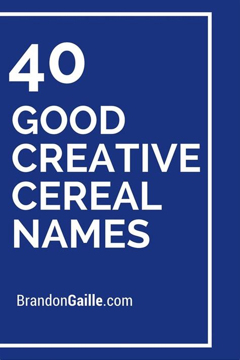 Cereal Names, Creative And Names On Pinterest
