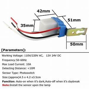 Street Light Sensor Switch 220v 110v 12v 24v Ac Dc 10a