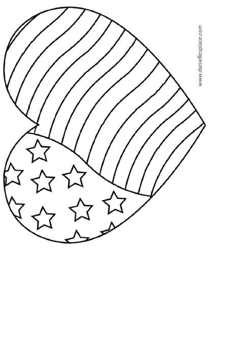 american flag heart coloring sheet printable