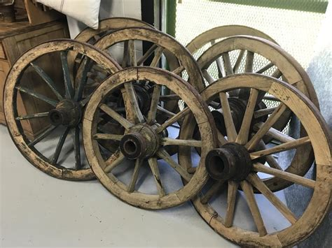 vintage industrial european wooden wagon wheels