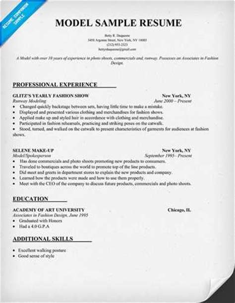 Experience Resume Model by I Want To How To Write A Resume For Modelling