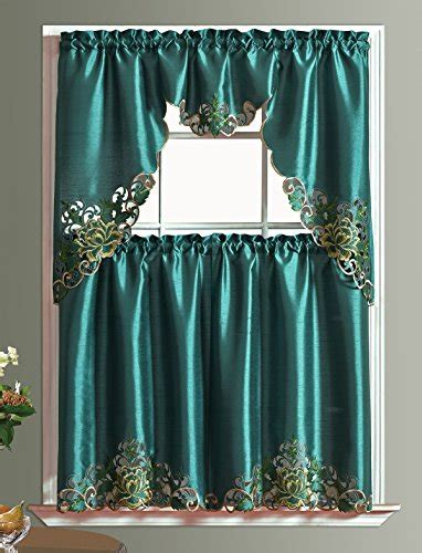teal color kitchen curtains  teal color kitchen