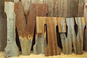corrugated rustic metal letters rustic metal letters With corrugated metal letters