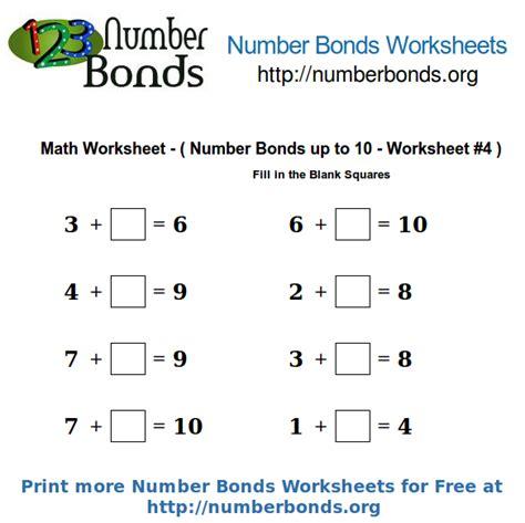 number bonds math worksheet up to 10 worksheet 4 number bonds org
