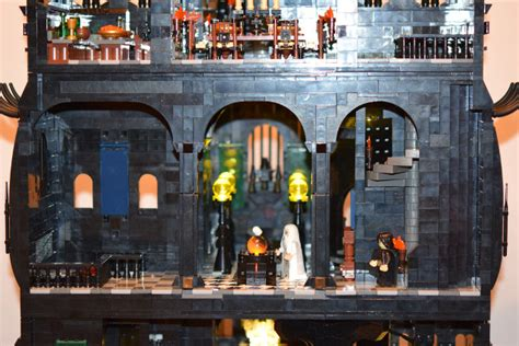 man builds  foot  piece lego tower  orthanc