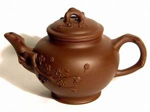Yixing, Purple, Clay, Teapot, -, Brown, Blossoms, -, Teapots, -, Yixing, Purple, Clay