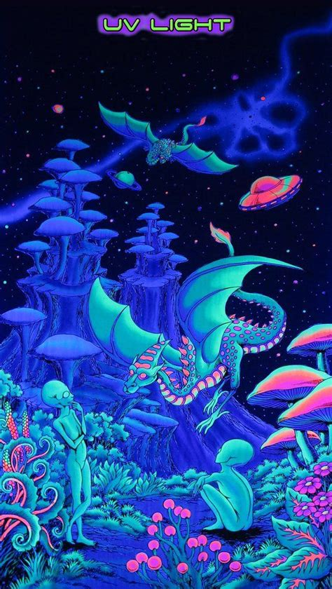 trippy wall hanging aliens  dragons fantasy tapestry