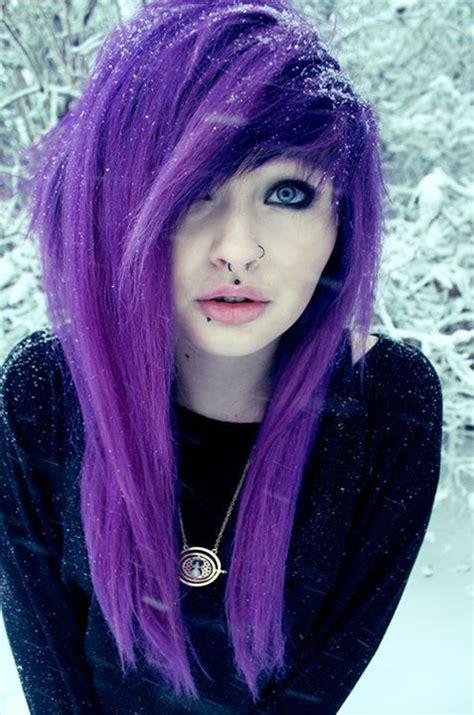 Emo Girl With Purple Hair We Heart It Purple Hair