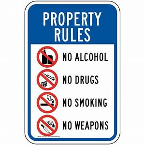 Drug Free Zone - No Tobacco - No Weapons - No Bullies Signs