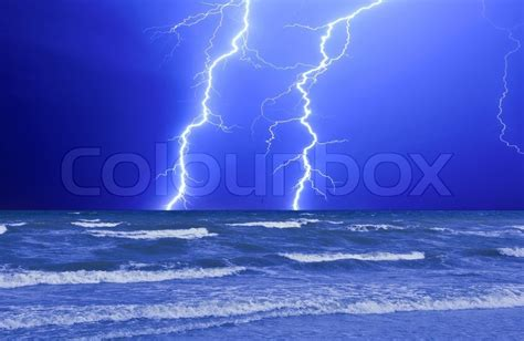 thunderstorm  perfect lightning   wave ocean