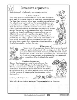 persuasive writing worksheets for grade 4 4th grade reading writing worksheets writing a