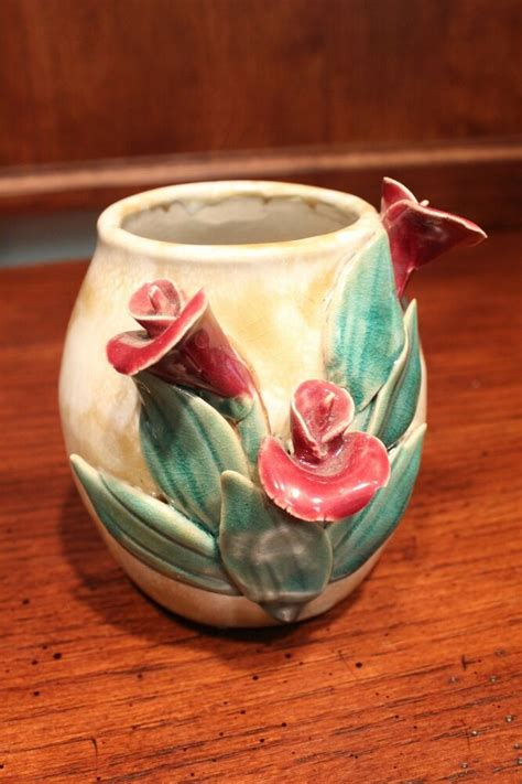 Cool Flower Vases by Unique Pottery Flower Vase With Flower Accents 5 Quot Ebay