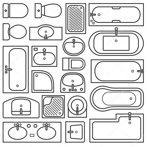 bathroom equipments top view stock vector  denbarbulat