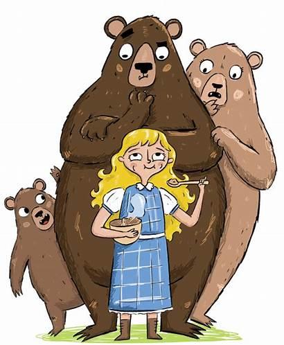 Goldilocks Clipart Bears Three Porridge Hair Traditional