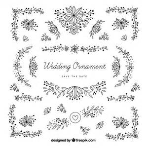 wedding ornaments wedding ornaments with leaves vector free