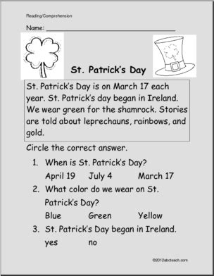 easy reading comprehension st patricks day primary