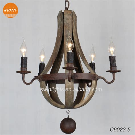 vintage rustic small 5 light wine barrel wooden chandelier