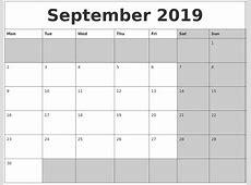 September 2019 Calanders