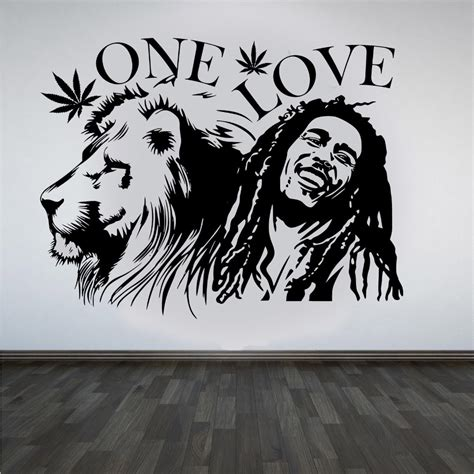 wall stickers bob marley zion quot one quot marijuana quote wall sticker decal mural