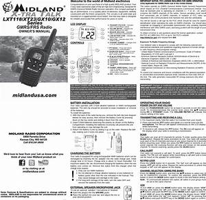 Midland Radio Lxt118pa Gmrs   Frs User Manual Lxt118 Owner
