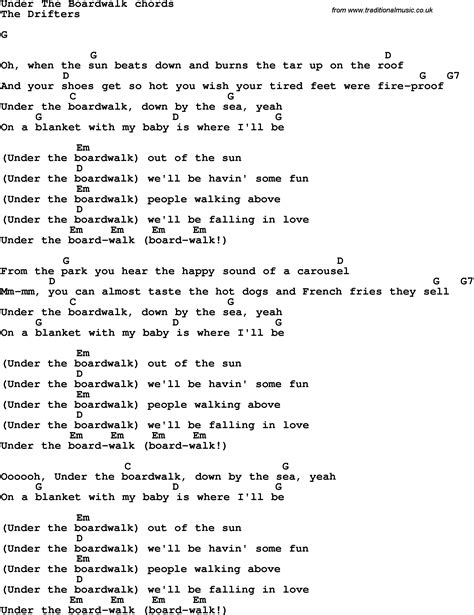 song lyrics with guitar chords for under the boardwalk