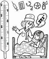 Thermometer Coloring Hospital Ziek Pages Zijn Activities Preschool Kleur Doctor Health Education Tot Books для Graden Senses Bed Worksheets Kleurplaten sketch template